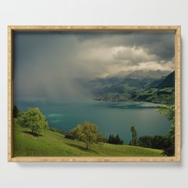 arising storm over lake lucerne Serving Tray