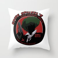 cowboy bebop Throw Pillows featuring Bebop Spike by AngoldArts