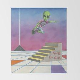 Rollerblading Alien Throw Blanket