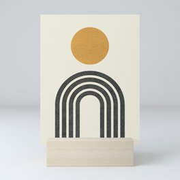 Mid century modern gold Mini Art Print