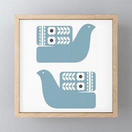 Blue Birds // Scandinavian birds // Folk Art Birds // Mid Century Birds Framed Mini Art Print