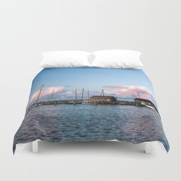 Evening at the harbour Duvet Cover