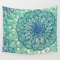 mandala Wall Tapestries featuring Emerald Doodle by micklyn