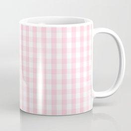 Light Soft Pastel Pink and White Gingham Check Plaid Coffee Mug