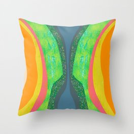 Shapes and Layers no.25 - Abstract painting Blue, Green, pink, yellow orange Throw Pillow