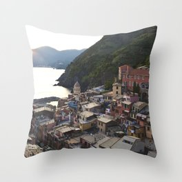 Sunset over Vernazza, Italy Throw Pillow