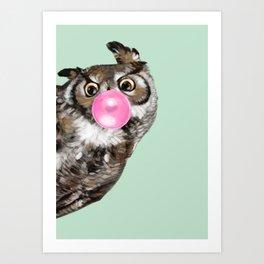 Sneaky Owl Blowing Bubble Gum Art Print