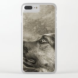 Black and White Loyal Dog Clear iPhone Case