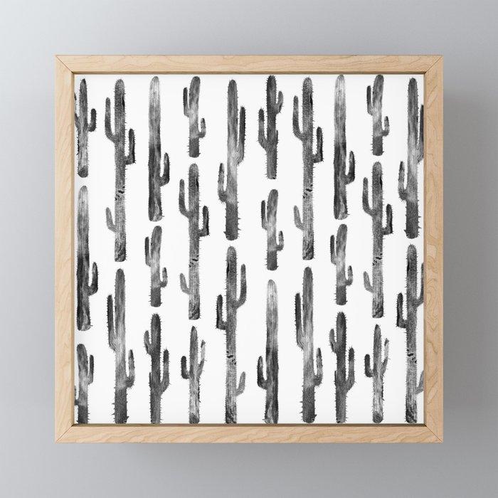 Black cactus Pattern Framed Mini Art Print