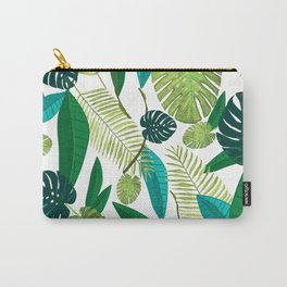 Tropical Green Leaves Carry-All Pouch