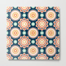 Indigo & Papaya Pattern 12 Metal Print