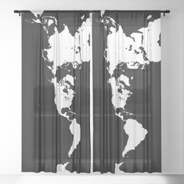 Dymaxion World Map (Fuller Projection Map) - Minimalist White on Black Sheer Curtain