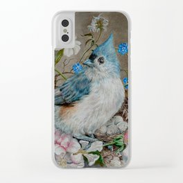 Blue Titmouse and Bee with floral still life Clear iPhone Case