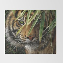 Tiger - Emerald Forest Throw Blanket