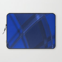 Metallic strokes with chaotic indigo lines from intersecting glowing neon stripes. Laptop Sleeve