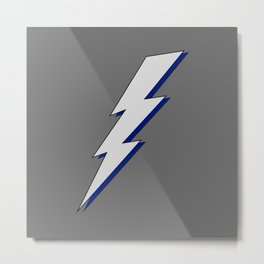 Just Me and My Shadow Lightning Bolt - Dark Charcoal Grey Gray Blue Metal Print