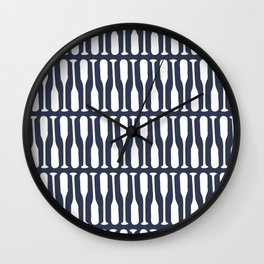 Boat Oars in Navy Blue Wall Clock