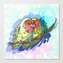 Expressive Parrots Lovebirds Canvas Print