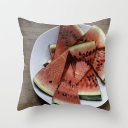 Flat lay of  watermelon on the wooden surface Throw Pillow