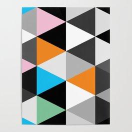 Splash Mod Triangles Dark - Modern Triangle Repeat Poster