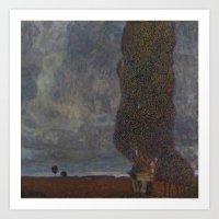 gustav klimt Art Prints featuring Gustav Klimt - Approaching Thunderstorm by TilenHrovatic
