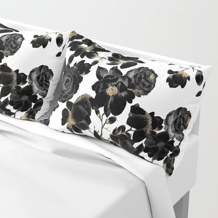 Modern Elegant Black White and Gold Floral Pattern Pillow Sham