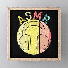 ASMR Headphones Vintage Framed Mini Art Print