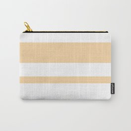 Mixed Horizontal Stripes - White and Sunset Orange Carry-All Pouch