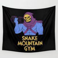 gym Wall Tapestries featuring snake mountain gym by Louis Roskosch