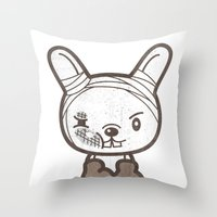 boxing Throw Pillows featuring Boxing Bunny by pencilplus