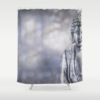 buddha Shower Curtains featuring Buddha by LebensART Photography
