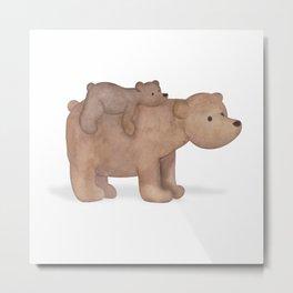 Papa Bear Piggy Back Metal Print