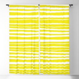 Small Sun Yellow Handdrawn horizontal Beach Stripes - Mix and Match with Simplicity of Life Blackout Curtain