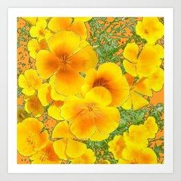 GOLDEN YELLOW CALIFORNIA POPPY WILD FLOWER PATTERNS Art Print