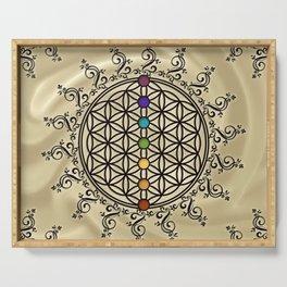FLOWER OF LIFE, CHAKRAS, SPIRITUALITY, YOGA, ZEN, Serving Tray