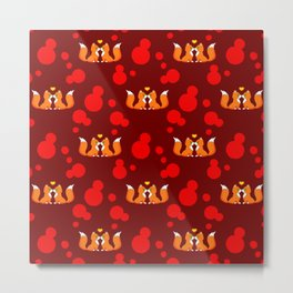 Cute lovely little foxes in love and bold red retro dots seamless pattern design. Animal romance. Metal Print