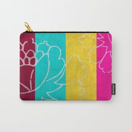 Chinese Flowers & Stripes - Pink Yellow Cyan Red Carry-All Pouch
