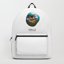 Smile Rock Cute Puppy with Bone Rock Painting by annmariescreations Backpack