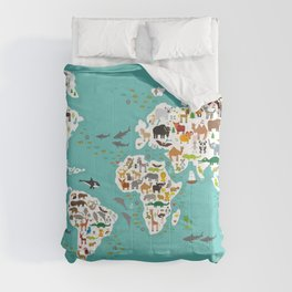 Cartoon animal world map for children and kids, Animals from all over the world Comforters