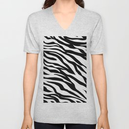 modern safari animal print black and white zebra stripes Unisex V-Neck