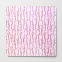 Handpainted Chevron pattern-small- pink watercolor on white Metal Print