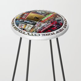 Times Square New York City (badge emblem on white) Counter Stool