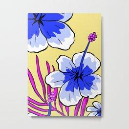 Aloha - beautiful flowers - tropical blue Metal Print