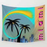 miami Wall Tapestries featuring Miami by Dunksauce Art
