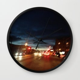 Blurry NYC Nights Photography Wall Clock