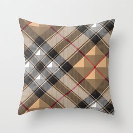 brouwn tartan pattern Throw Pillow