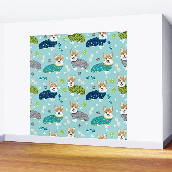 Corgi pajamas welsh corgi in pjs pattern print cute dog gifts custom dog portrait Wall Mural