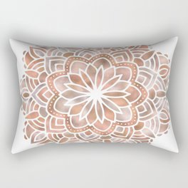 Mandala Rose Gold Flower Rectangular Pillow