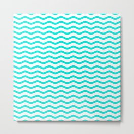 Bright Turquoise and White Chevron Wave Metal Print