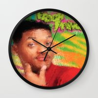 fresh prince Wall Clocks featuring Will Smith - Fresh Prince by Alice Z.